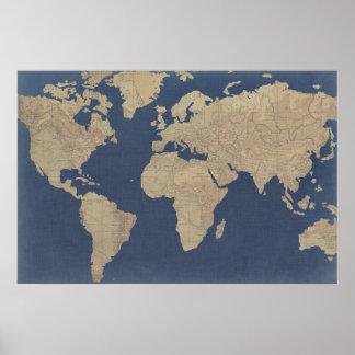 Póster Oro y mapa del mundo azul