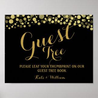Póster Oro y MUESTRA NEGRA del árbol del guestbook