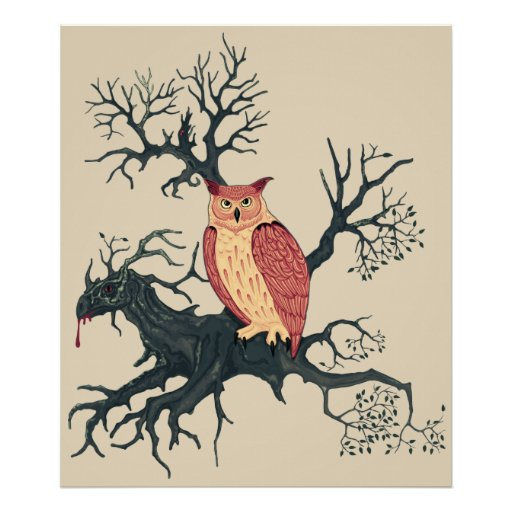 Póster Owl of Fire & Dragon Tree