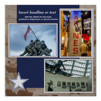 Póster Página militar del collage del libro de recuerdos