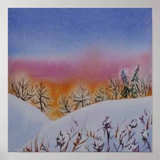 Póster Paisaje abstracto del invierno de la acuarela