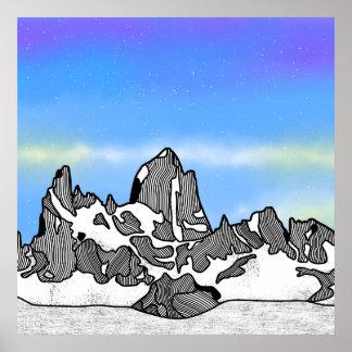 Póster Paisaje de la montaña de Monte Fitz Roy