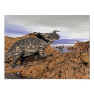 Póster Paisaje de los dinosaurios - 3D rinden