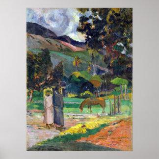 Póster Paisaje de Paul Gauguin Tahitian