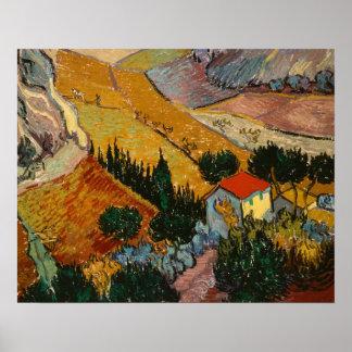 Póster Paisaje de Vincent van Gogh el | con la casa y el