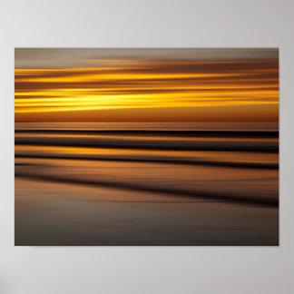 Póster Paisaje marino abstracto en la puesta del sol, CA