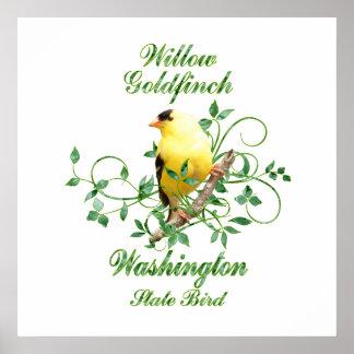 Póster Pájaro de estado de Washington del Goldfinch