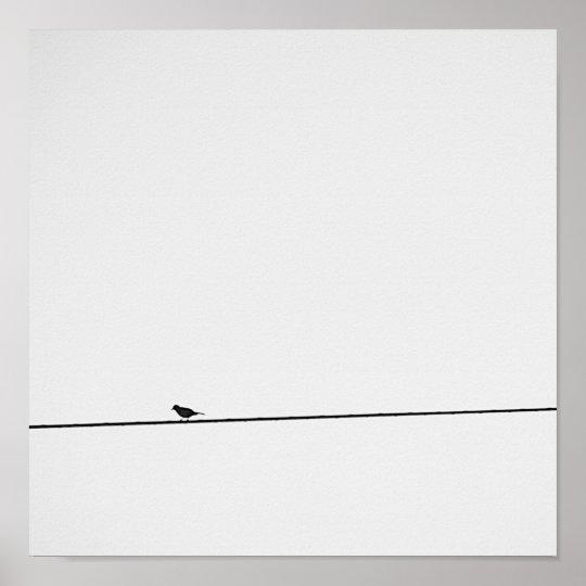 Póster Pájaro posado en blanco y negro