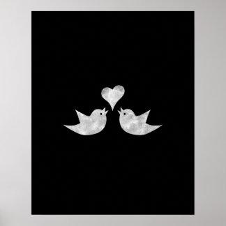Póster Pájaros del amor con color del personalizado del