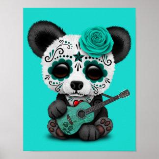 Póster Panda azul del cráneo del azúcar que toca la