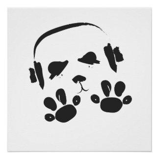 Póster Panda enrrollada de la música