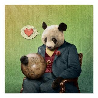 Póster Panda sabia: ¡El amor hace que el mundo circunda!