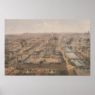 Póster Panorama de París el río Sena y Louvre
