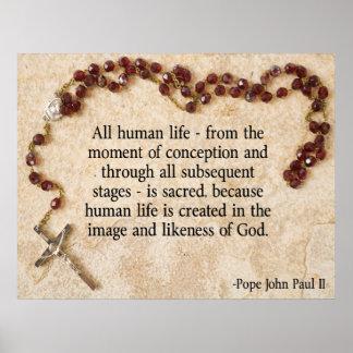 Póster Papa John Paul antiabortista