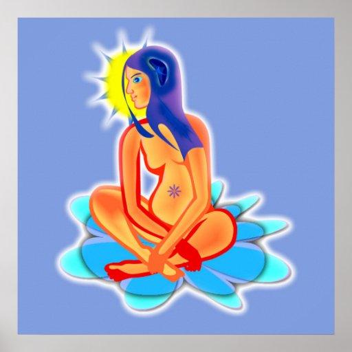 Póster Para meditar, póster, azul, meditación