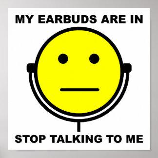 Póster Parada de los auriculares de botón que habla