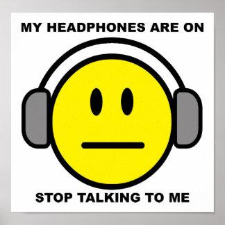 Póster Parada de los auriculares que habla el poster