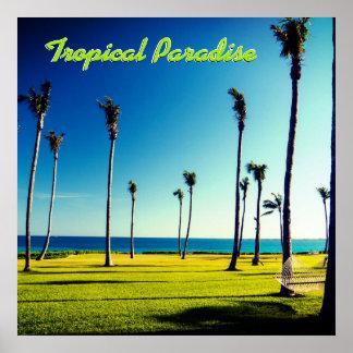 Póster Paraíso tropical del texto de encargo