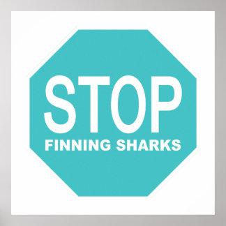 Póster Pare la muestra de los tiburones de Finning