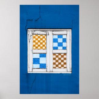 Póster Pared azul con la ventana