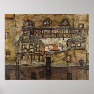 Póster Pared de la casa en el río de Egon Schiele