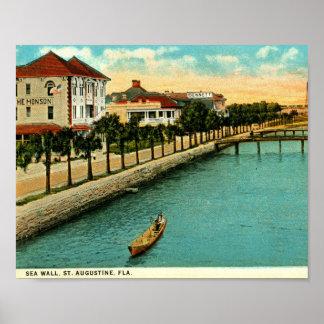 Póster Pared de mar, vintage de St Augustine, la Florida
