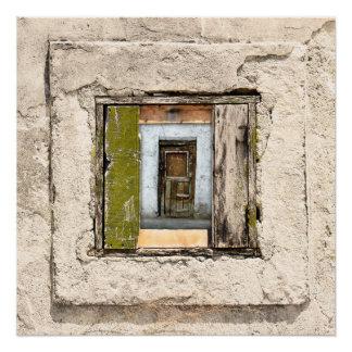 Póster Pared, ventana y puerta