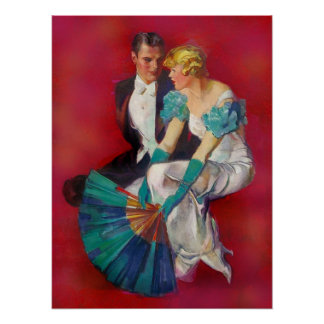 Póster Pares románticos del vintage en vestido de noche