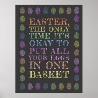 Póster Pascua - todos sus huevos en una cesta