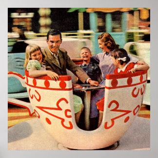 Póster paseo de la taza de té de los años 60 en el parque