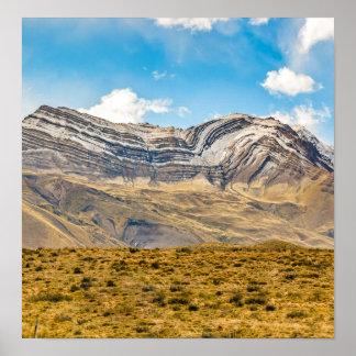 Póster Patagonia la Argentina de las montañas Nevado los