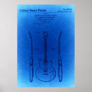 Póster Patente azul de la guitarra de la carrocería del