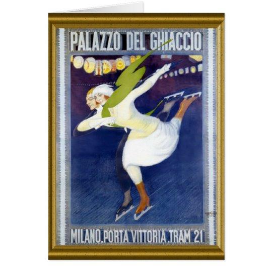Poster patinador italiano del vintage tarjeta de felicitación