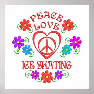 Póster Patinaje de hielo del amor de la paz