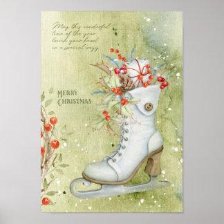 Póster Patinaje de hielo del navidad