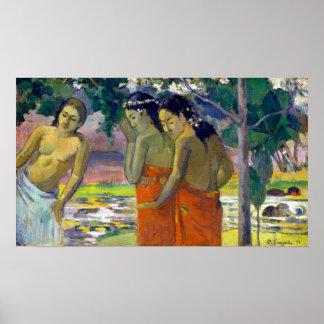 Póster Paul Gauguin tres mujeres de Tahitian