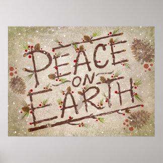 Póster Paz en el poster de la tipografía del navidad de