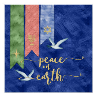 Póster Paz en la tipografía del oro de la tierra