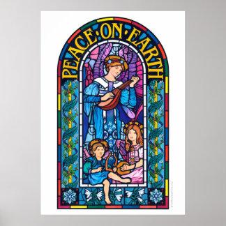 Póster Paz gigante del poster en el vitral de la tierra