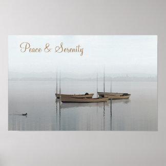 Póster Paz y serenidad, barcos en un lago inmóvil
