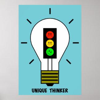 Póster Pensador único de la bombilla cambiante de la luz