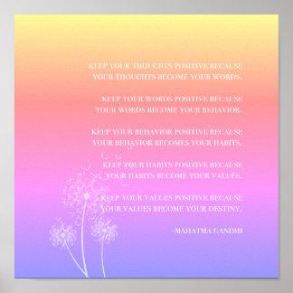 Póster Pensamiento positivo inspirado de la cita el |