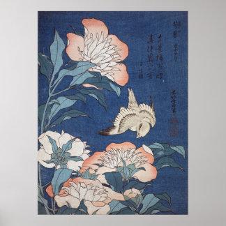 Póster Peonies y canario de Katsushika Hokusai