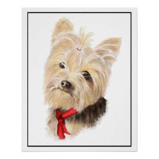 Póster Pequeña acuarela linda Yorkie Yorkshire Terrier