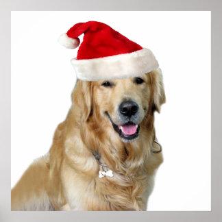 Póster Perro-mascota de Labrador navidad-santa Claus