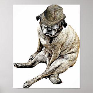 Póster Perro viejo del barro amasado que lleva el poster