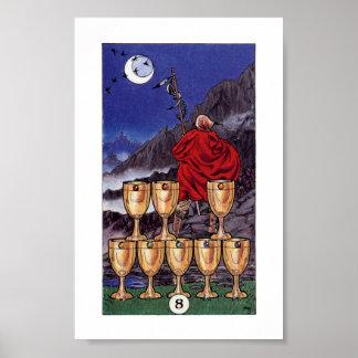 Póster Petirrojo Tarot de madera - 8 de tazas