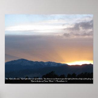 Póster Pico de los lucios en la puesta del sol