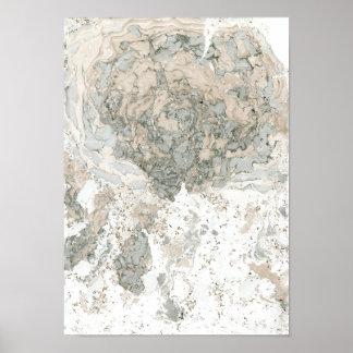 Póster Piedra abstracta beige de marfil verde blanca de