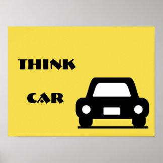 Póster Piense el poster enrrollado A3 del coche